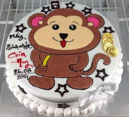 Bánh kem sinh nhật chú khỉ con